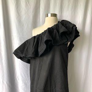 Dresses & Skirts - Black Lanvin One Shoulder Ruffle Dress